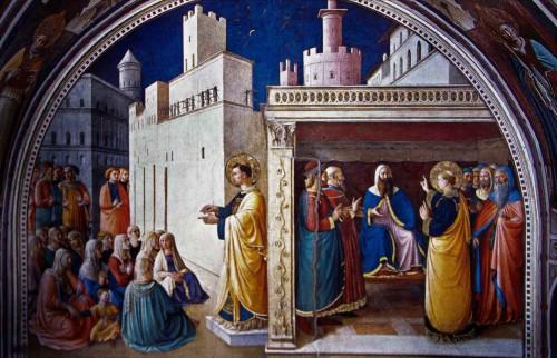Św. Szczepan nauczający i wygłaszający mowę obronną przed Sanhedrynem, Fra Angelico, kaplica Mikołaja V, pałac Apostolski
