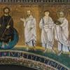 Mozaika na tęczy kościoła San Lorenzo fuori le mura. Św. Szczepan po prawej