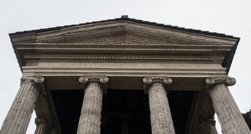 The Temple of Portunus, portico and tympanum of the temple