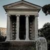 The Temple of Portunus, portico and tympanum of the old temple of the protector of the port