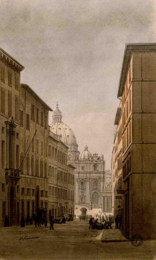 Borgo Nuovo, widok z 1935 r., Vito Lombardi, Museo di Roma