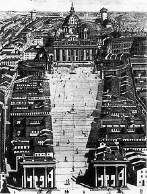 Concept of the opening of St. Peter's Basilica from 1776, pic. Wikipedia, author Cosimo Morelli