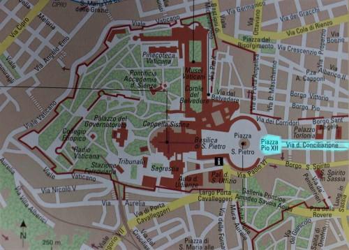 Map showing via della Conciliazione and Piazza Pio XII – created from the old spina del Borgo