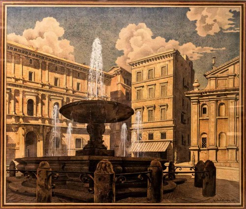 Piazza Scossacavalli ( destroyed square located in the area of the old spina, 1936, watercolor) Andriej J. Beloborodoff, Museo di Roma