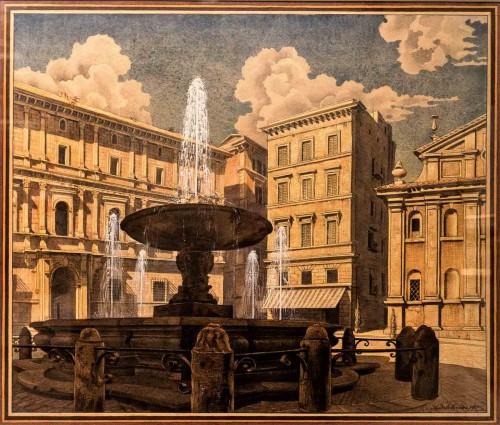 Piazza Scossacavalli (zniszczony plac znajdujący się na terenie dawnej spiny), 1936, akwarela Andriej J. Beloborodoff, Museo di Roma