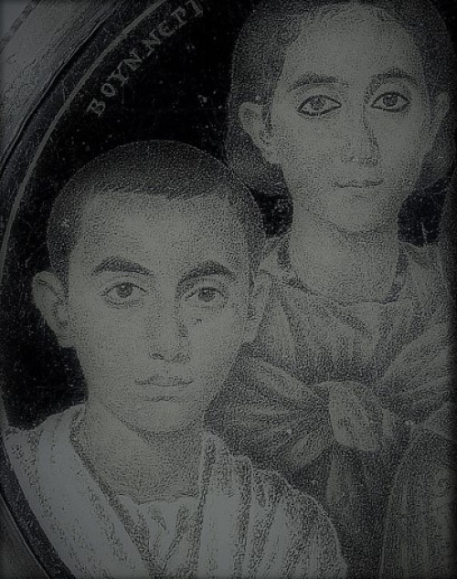 Alleged portrait of Emperor Valentinian II in his youth and of his sister Honoria, pic.Wikipedia