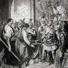 Odoacer and Emperor Romulus Augustulus, reproduction of a drawing by an unknown author, pic. Wikipedia