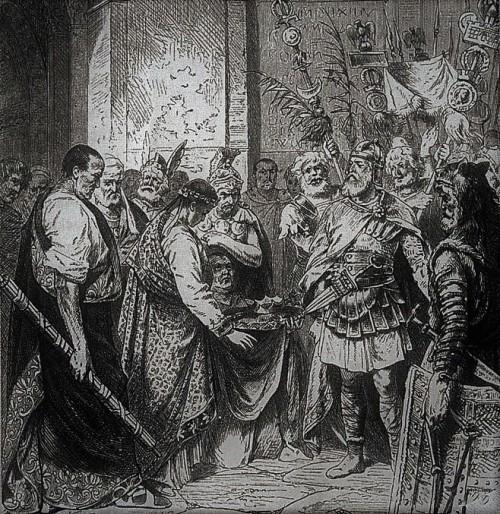 Odoaker i cesarz Romulus Augustulus, reprodukcja ryciny nieznanego autorstwa, zdj. Wikipedia