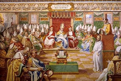 Obrady soboru w Nicei, fresk, Watykan, zdj. Wikipedia