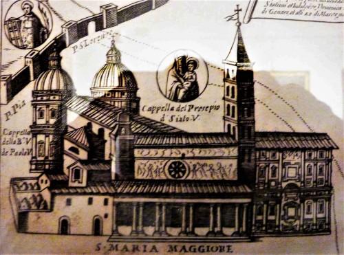 Bryła bazyliki Santa Maria Maggiore na średniowiecznej rycinie, Museo di Santa Maria Maggiore