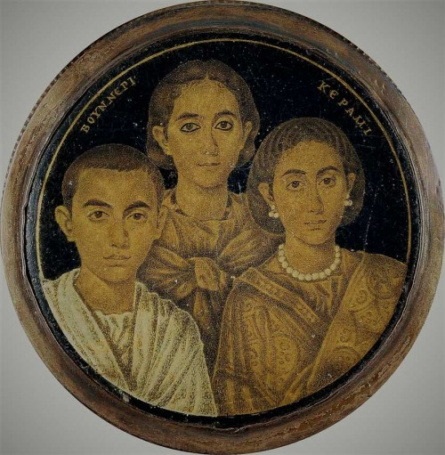 Domniemany portret cesarza Walentyniana III z matką Gallą Placydia i siostrą Honorią, zdj. Wikipedia