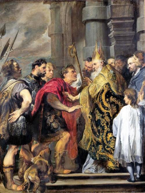 Biskup Ambroży  nie wpuszcza cesarza Teodozjusza do katedry w Mediolanie, Antoon van Dyck, zdj. Wikipedia
