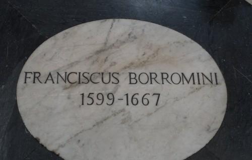 plaque commemorating the architect's burial in the Basilica of San Giovanni dei Fiorentini