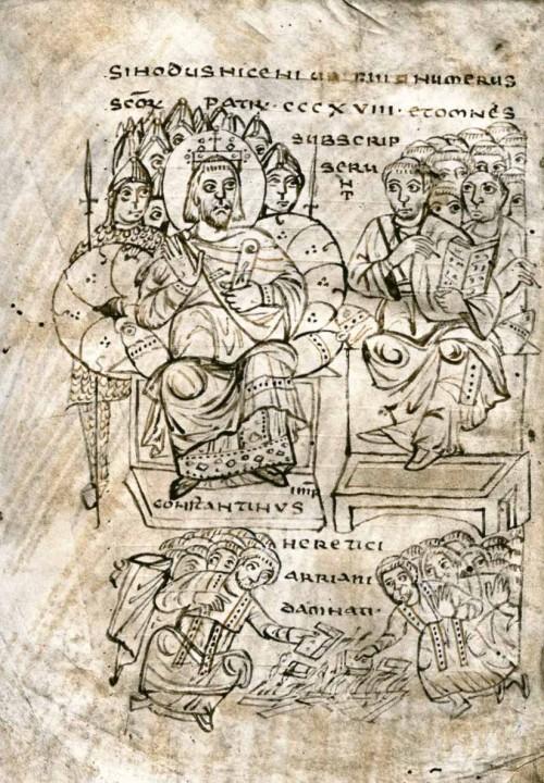 Cesarz Konstantyn na soborze w Nicei, manuskrypt średniowieczny, zdj. Wikipedia