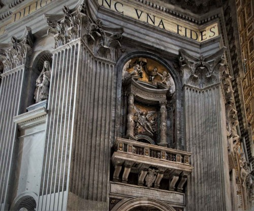 Gian Lorenzo Bernini, one of the four pillars supporting the dome of the Basilica of San Pietro in Vaticano