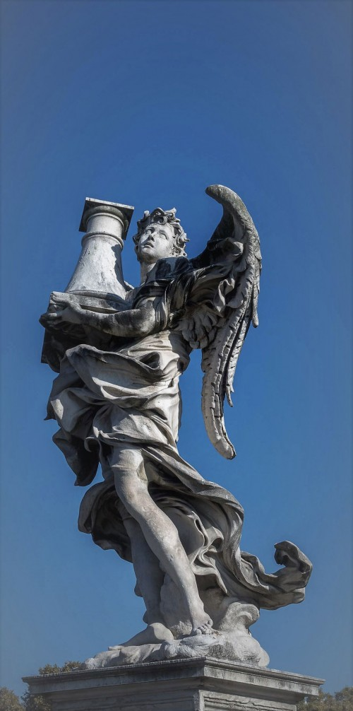 Antonio Raggi, Angel with a column, Ponte Sant'Angelo