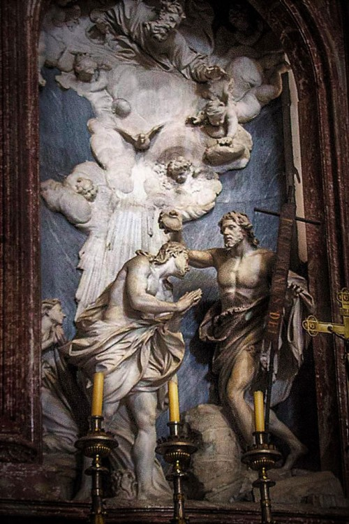 Antonio Raggi, The Baptism of Christ in the main altar of the Church of San Giovanni dei Fiorentini