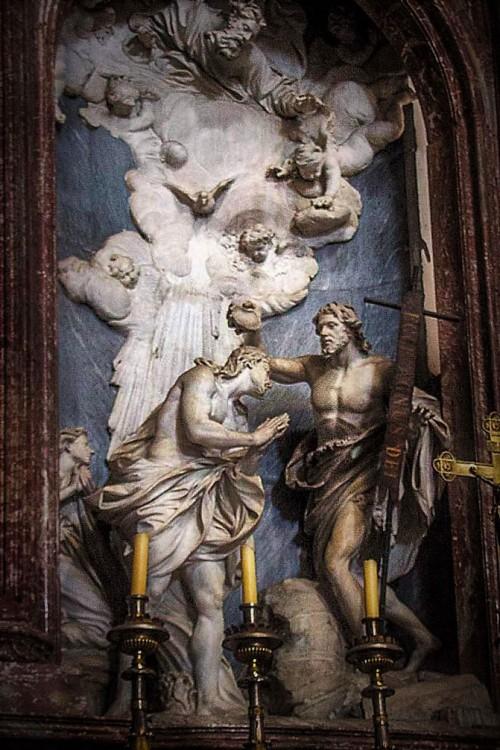 Antonio Raggi, Chrzest Chrystusa w ołtarzu głównym kościoła San Giovanni dei Fiorentini