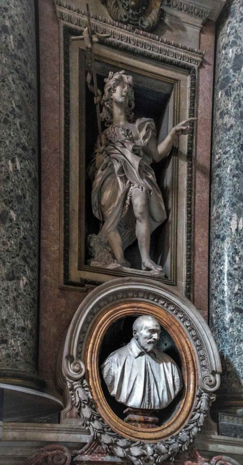 Antonio Raggi, figure of St. John the Baptist, Gavotti Chapel,  Church of San Nicola da Tolentino