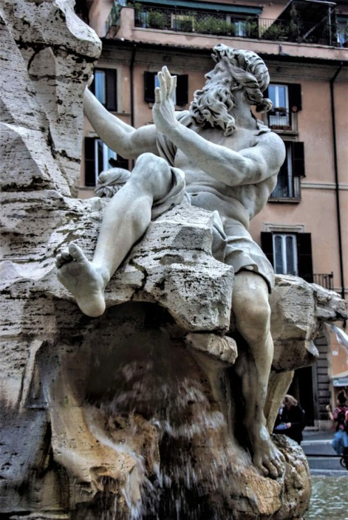 Antonio Raggi, personification of the Danube, Fontana dei Quattro Fiumi