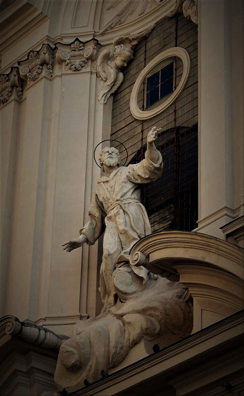 Attributed to Antonio Raggi figure of St. Francis above the enterance to the Church of San Francesco dei Stigmati