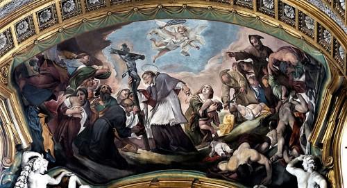 Karol Boromeusz prowadzący procesję św. Krzyża, Giacinto Brandi, kościół San Carlo al Corso