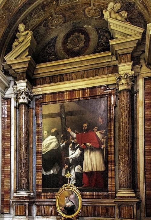 Karol Boromeusz w procesji św. Krzyża, Carlo Saraceni, kościół San Lorenzo in Lucina