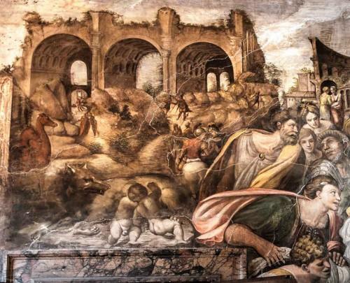 Farnesina, Sala delle Nozze, fragment nadproża ukazujący bazylikę Maksencjusza na Forum Romanum