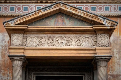 Basilica of Santa Pudenziana, lintel of the enterance portico into the church with medieval reliefs