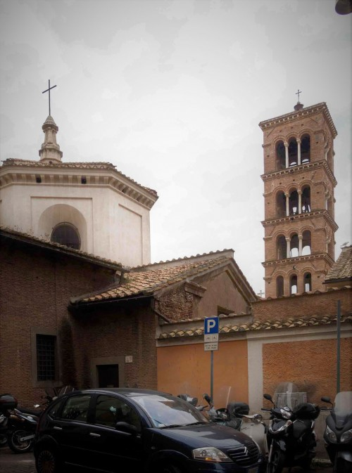 Basilica of Santa Pudenziana seen from via Cesare Balbo, top of the dome and the bell tower