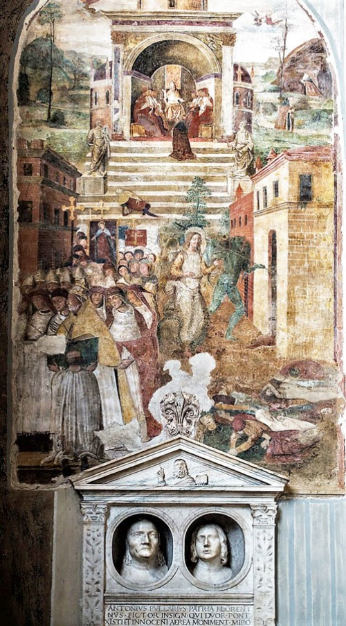 Basilica of San Pietro in Vincoli, fresco – Procession in the intention of freeing from the plague and the tombstone of Antonio and Pier Pollaiuolo