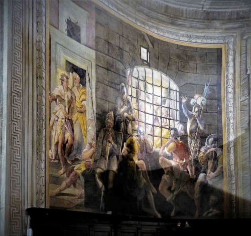 Basilica of San Pietro in Vincoli, apse paintings, St. Peter Liberated from Prison, Jacopo Coppi