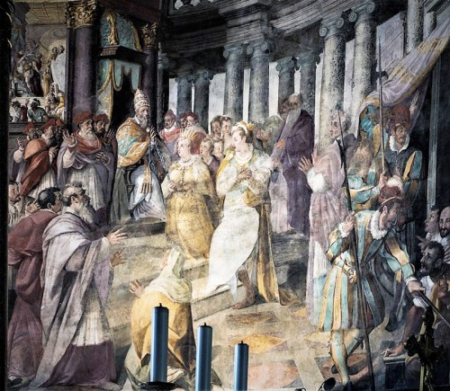 Basiica of San Pietro in Vincoli, apse paintings - Empress Licinia Eudoxia Giving the Chains of St. Peter to Pope Leo I, Jacopo Coppi