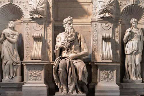 San Pietro in Vincoli, pomnik nagrobny papieża Juliusza II, Mojżesz w towarzystwie Lei i Racheli - Michał Anioł
