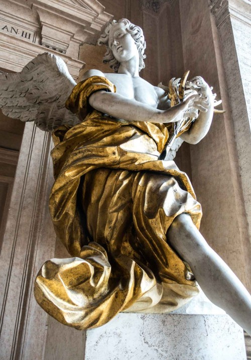 Pietro Bracci, Angel attributed to the artist in the loggia of the Basilica of Santa Maria Maggiore