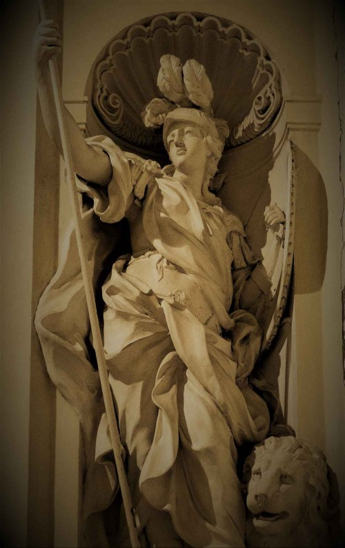 Camillo Rusconi, personifikacja Męstwa, kaplica Ludovisi, kościół Sant'Ignazio di Loyola