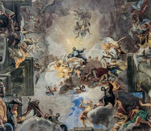 Andrea Pozzo, centralna część malowidła sklepienia - Apoteoza św. Ignacego, kościół Sant'Ignazio
