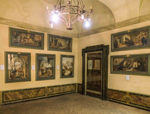 Andrea Pozzo, series of watercolors attributed to the artist in the vestibule of the cell of St. Stanislaus Kostka, complex of the Church of Sant'Andrea al Quirinale