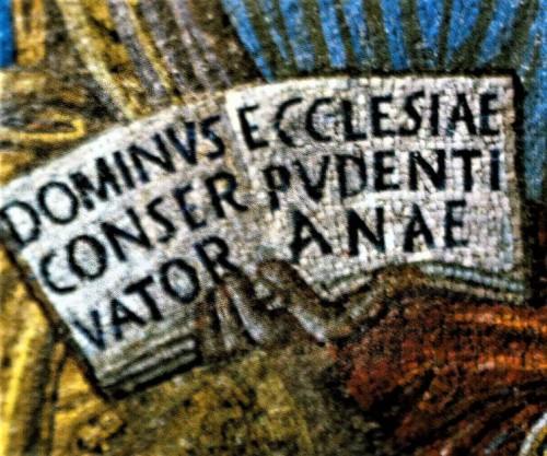 Santa Pudenziana, kodeks trzymany przez Chrystusa, mozaika absydy, fragment
