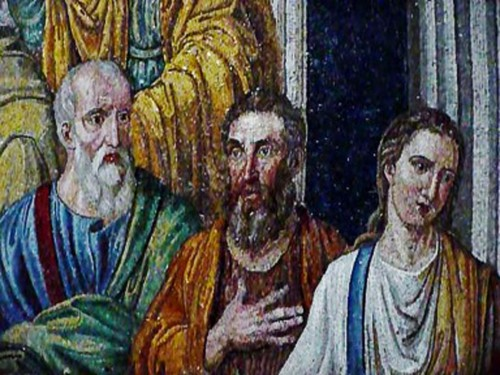 Santa Pudenziana, mozaika absydy, apostołowie wokół św. Piotra - fragment mocno zmodernizowany