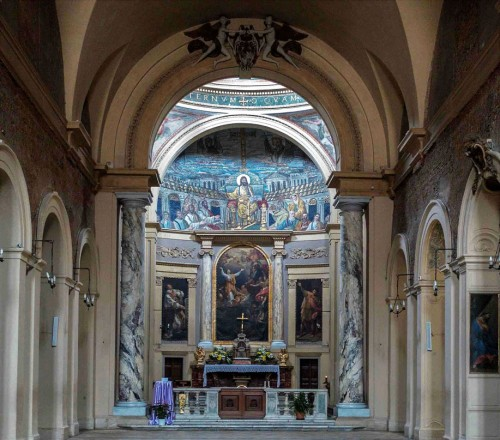 Wnętrze bazyliki Santa Pudenziana, mozaiki absydy