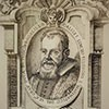 Galileo's portrait from the first page of his book The Assayer