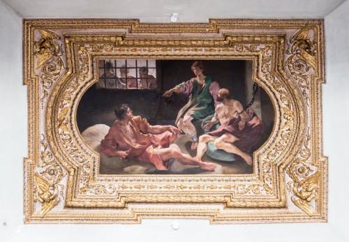 Palazzo Mattei di Giove, dekoracja sufitowa jednej z sal, Józef w więzieniu interpretuje sny służącego i piekarza, Giovanni Lanfraco