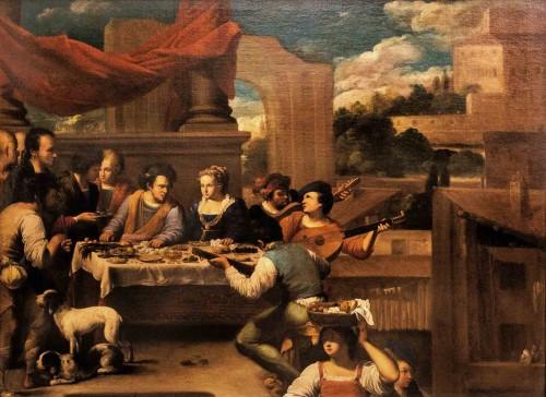 Carlo Saraceni, Lazarus at the feast of a rich man, Musei Capitolini