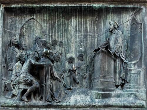 Pomnik Giordana Bruna, relief przedstawiający filozofa nauczającego w Oksfordzie