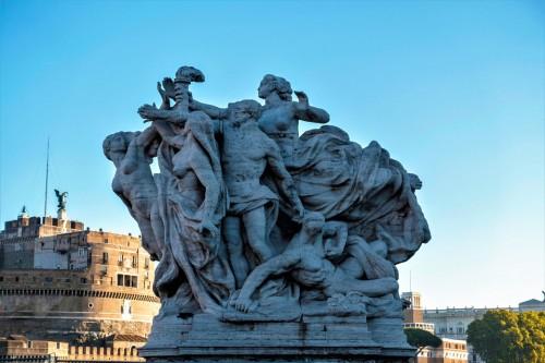Ponte Vittorio Emanuele II - jedna z alegorycznych grup zdobiących most (Wierność statutowi), Giuseppe Romagnoli