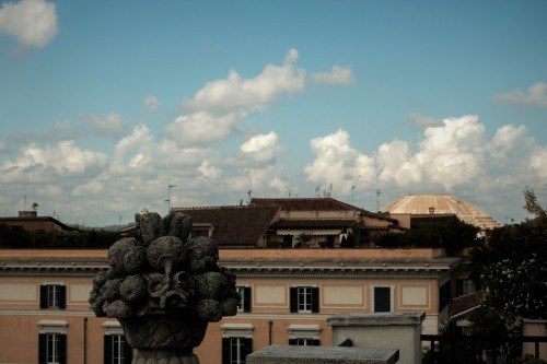 Dome of the Pantheon seen above the roofs of Rome