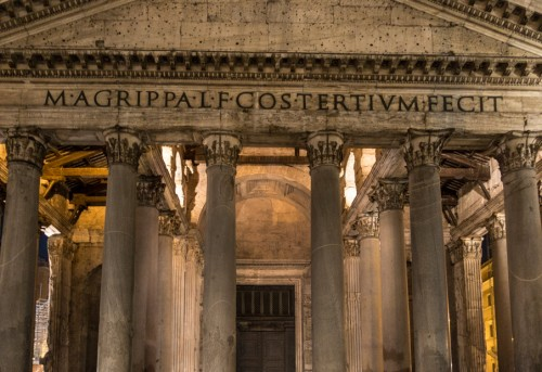Pantheon, the open roof truss of the temple portico