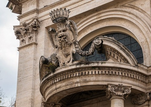 Church of Sant'Andrea al Quirinale, decoration of the main enterance with the emblem of Pope Innocent X from the Pamphilj family