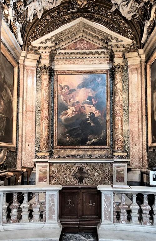 Sant'Andrea al Quirinale, kaplica św. Franciszka Ksawerego, ołtarz główny z obrazem ukazującym śmierć świętego (Baciccio)